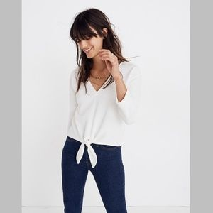 Madewell Texture & Thread Tie Front Top White
